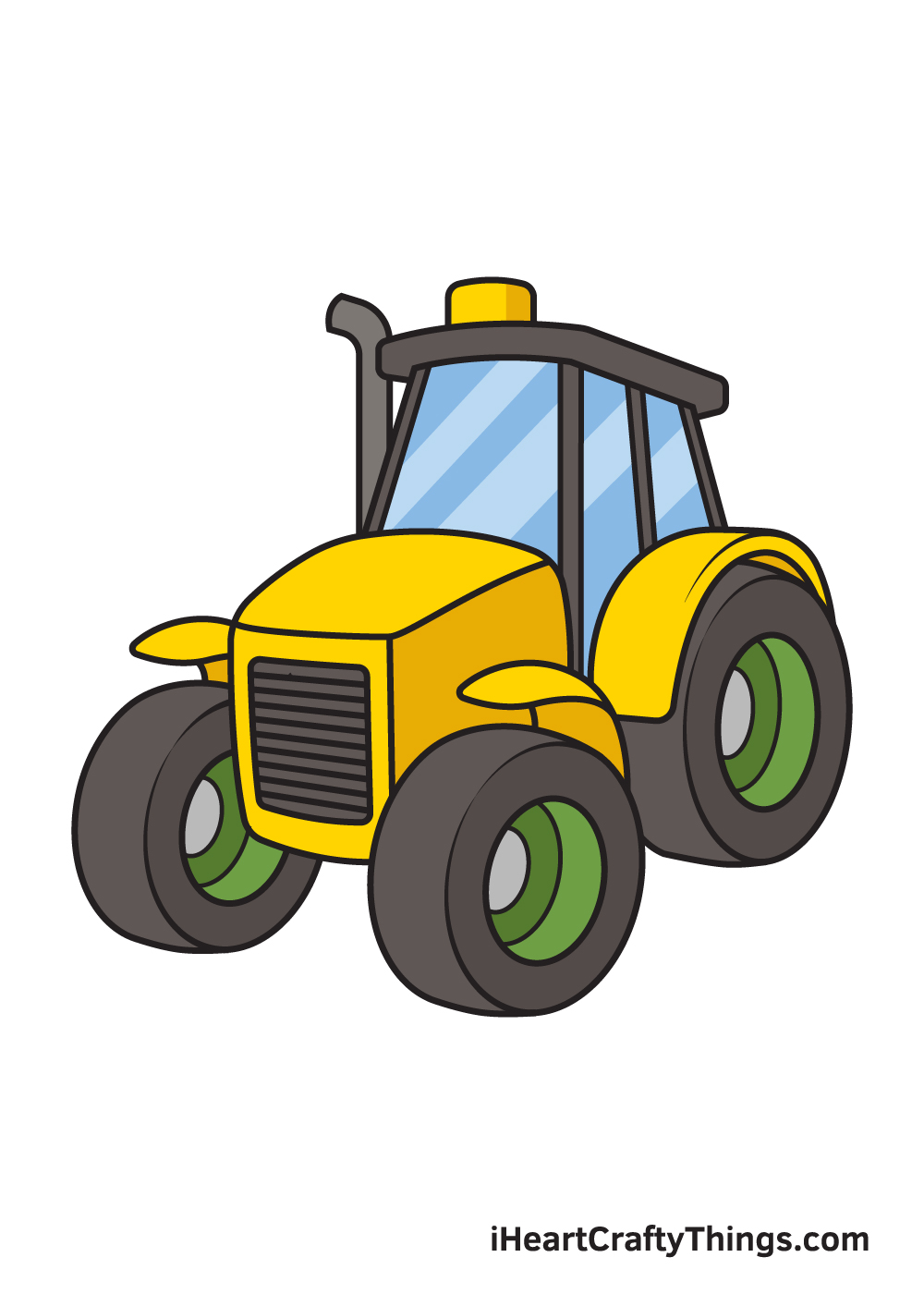 tractor drawing 9 steps