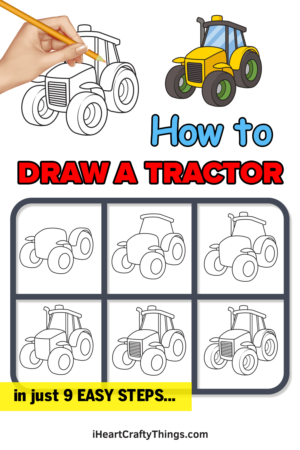 how to draw a tractor in 9 easy steps