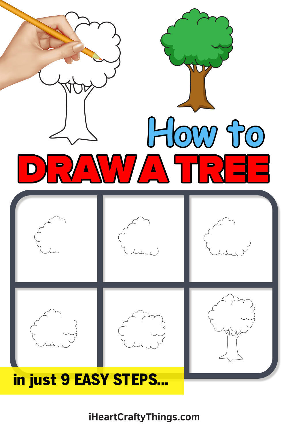 how to draw a tree in 9 easy steps