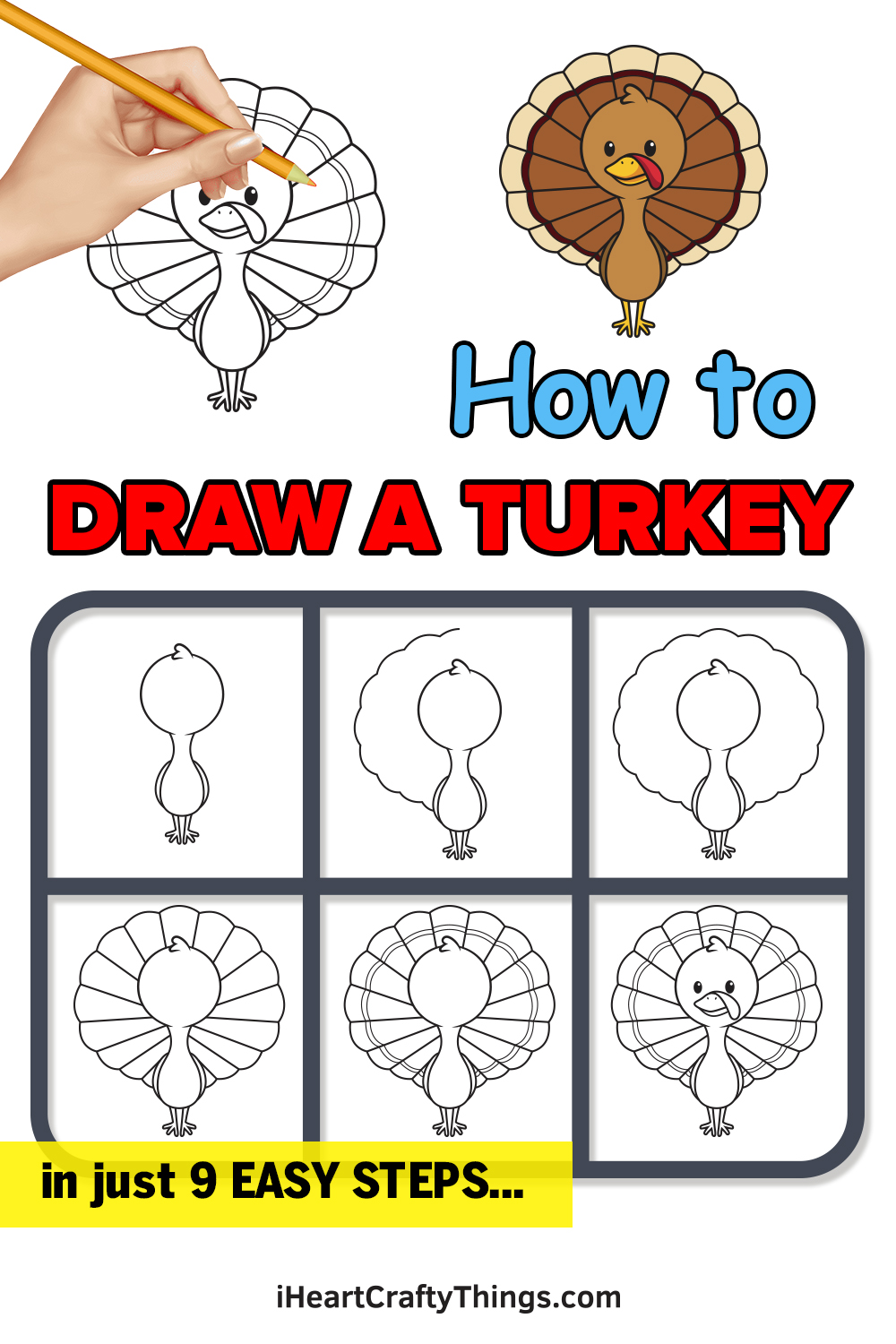 how to draw a turkey in 9 easy steps