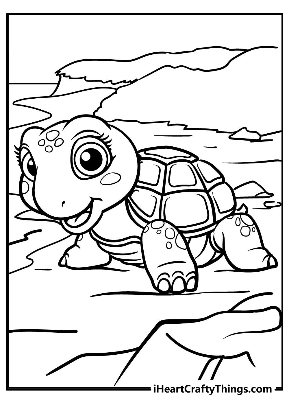 turtle drawing coloring image free printable