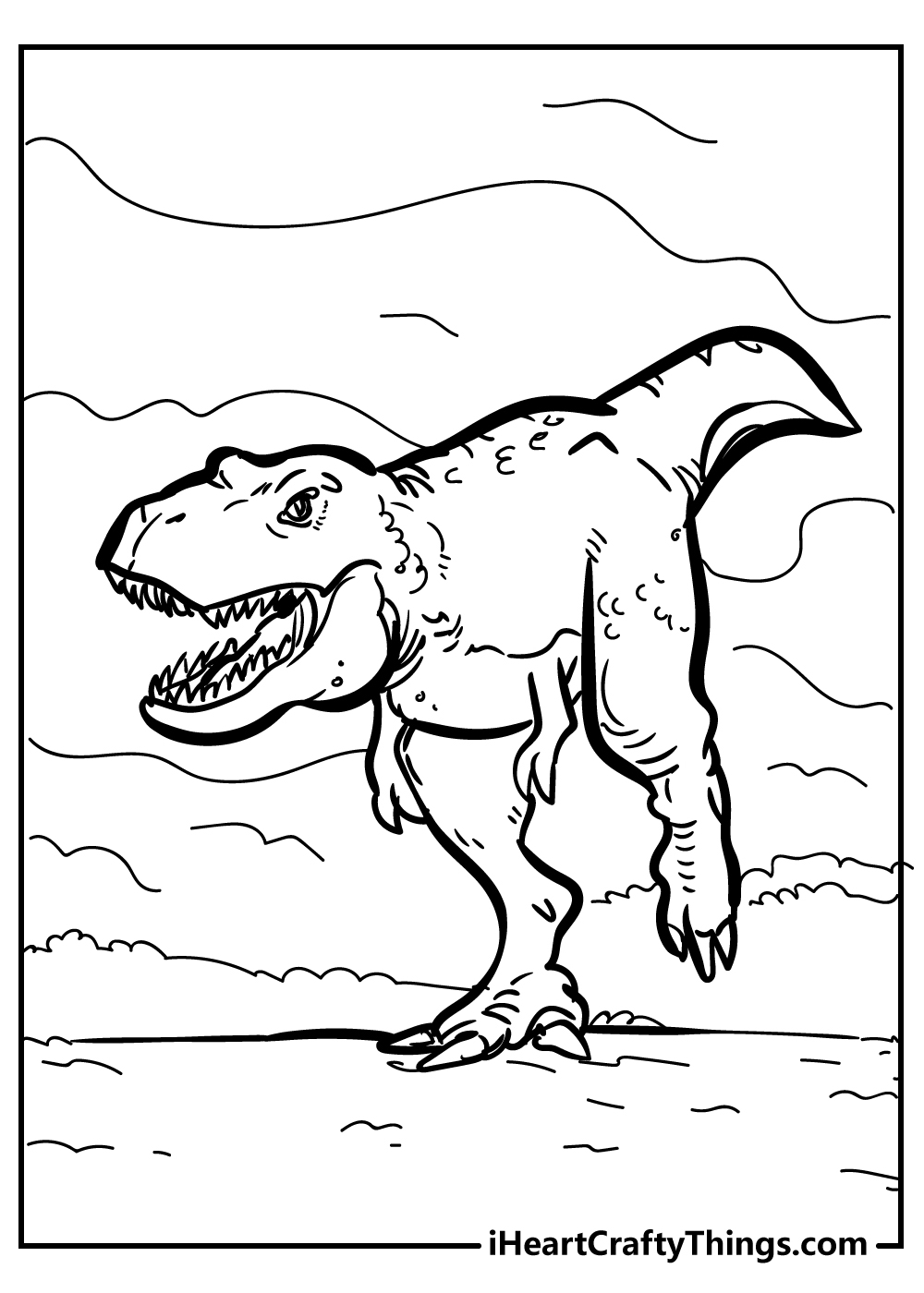 Jurassic world t-rex coloring pages for kids