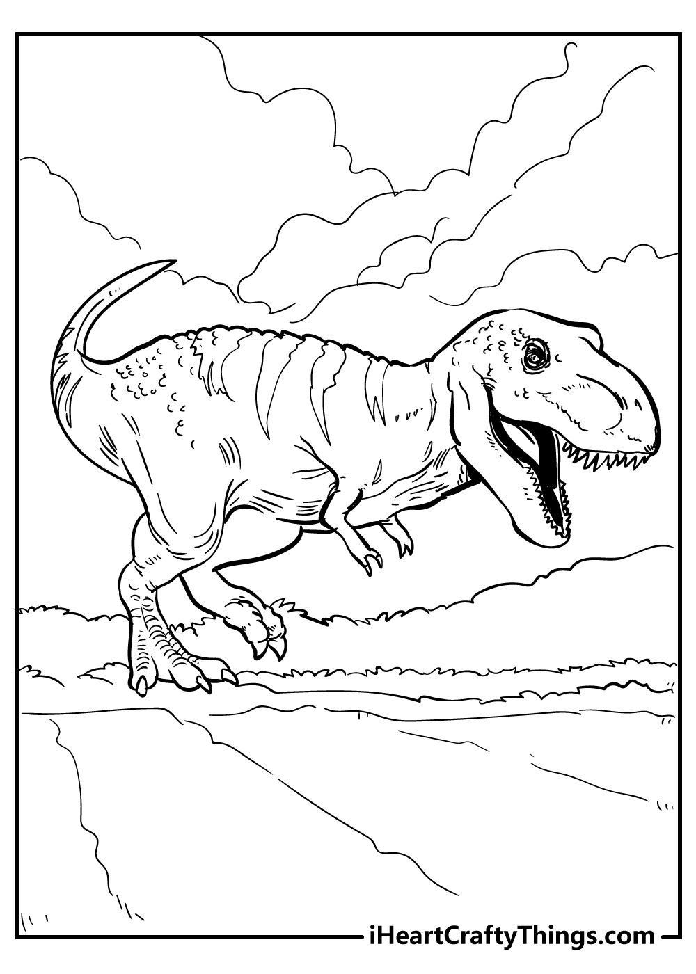 cartoon jurassic world t-rex coloring pages free printable