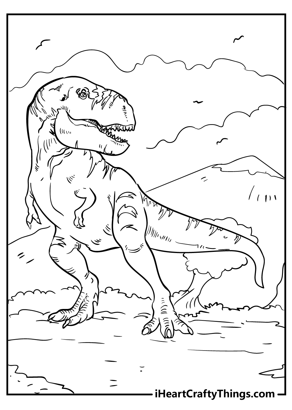 black and white t-rex coloring pages free printable