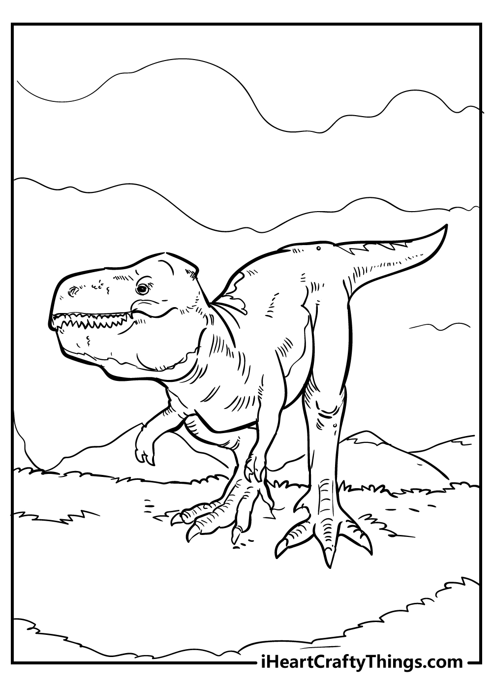 realistic Tyrannosaurus colouring page free printable