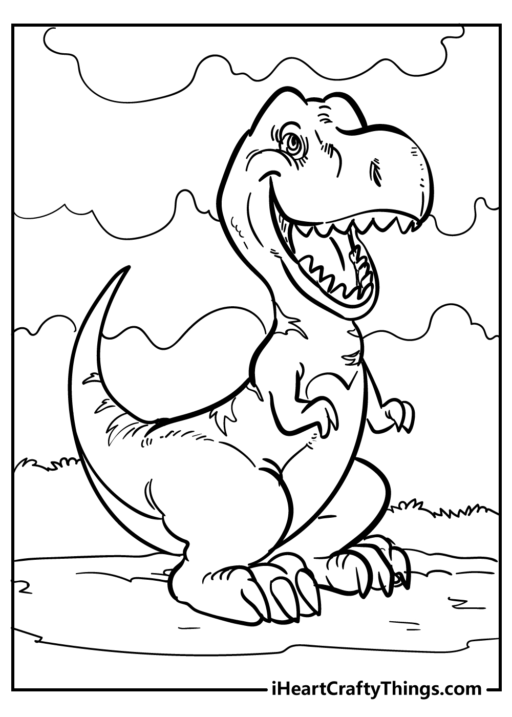 Jurassic Park T-Rex coloring page for preschoolers