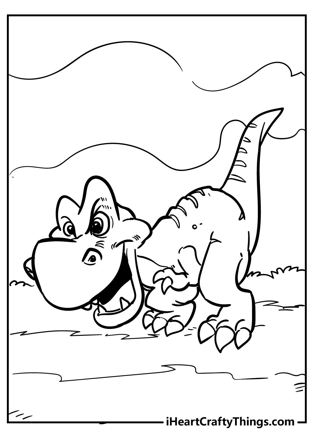 t-rex drawing coloring sheet free printable
