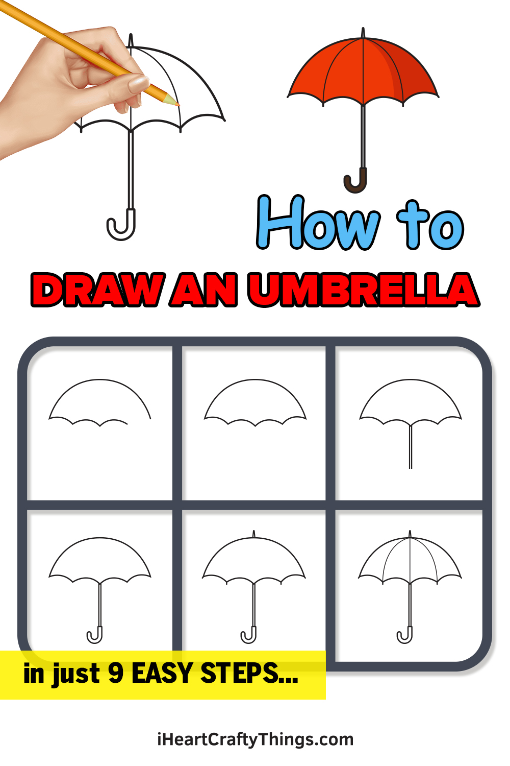 how to draw an umbrella in 9 easy steps