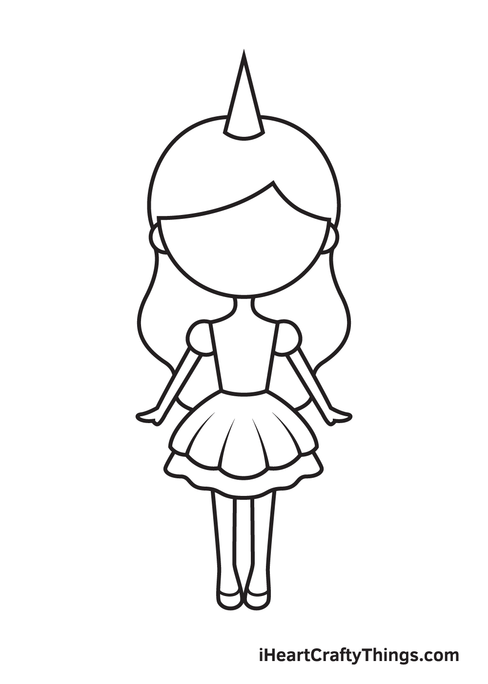 unicorn girl drawing step 7