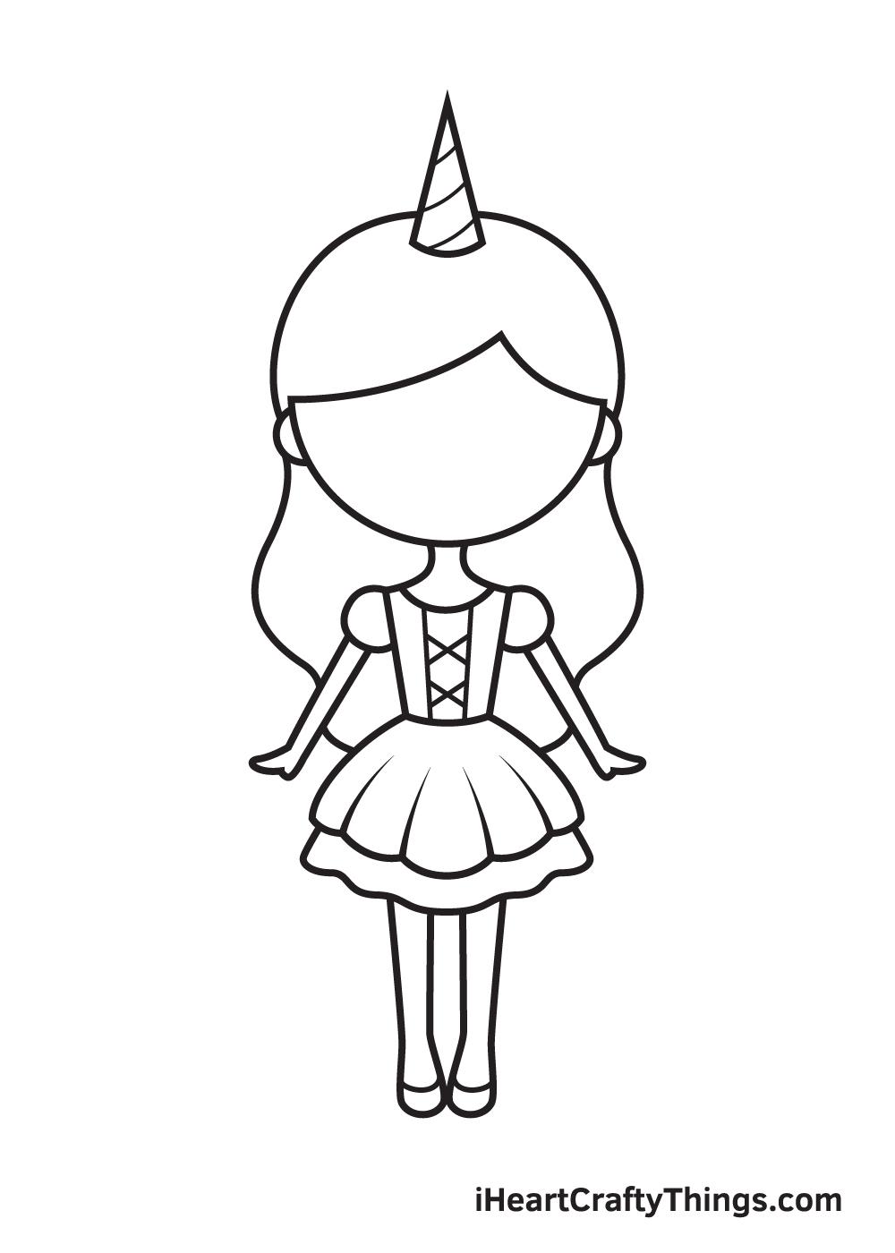 unicorn girl drawing step 8