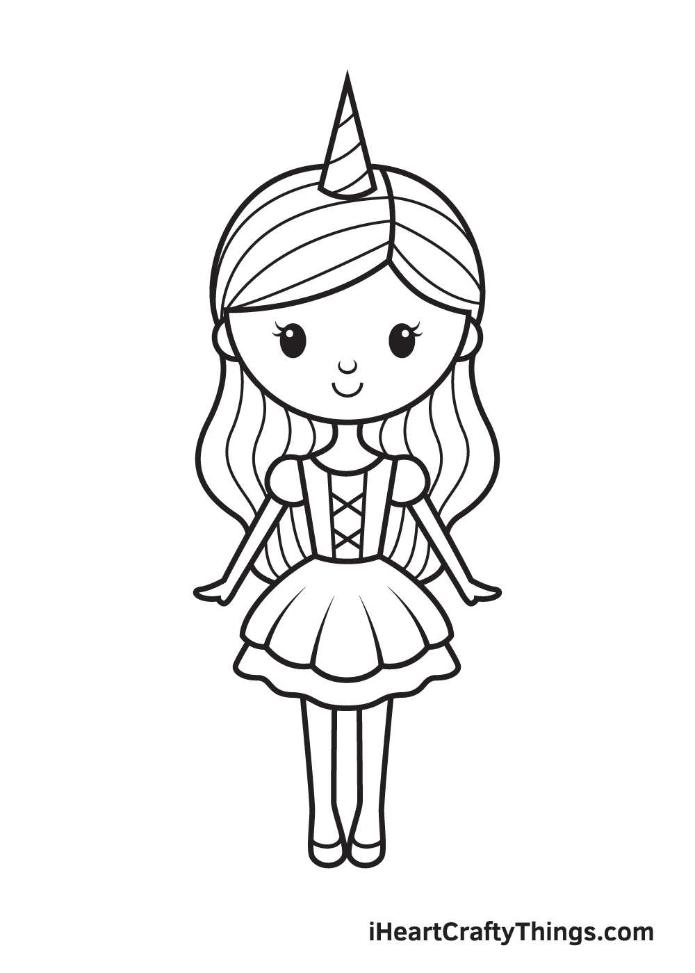 unicorn girl drawing step 9