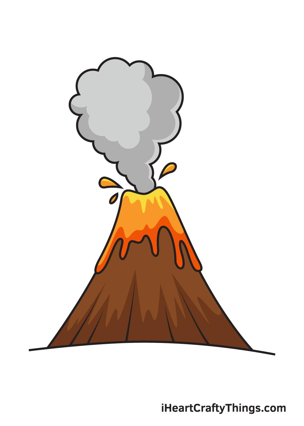 volcano drawing 9 steps