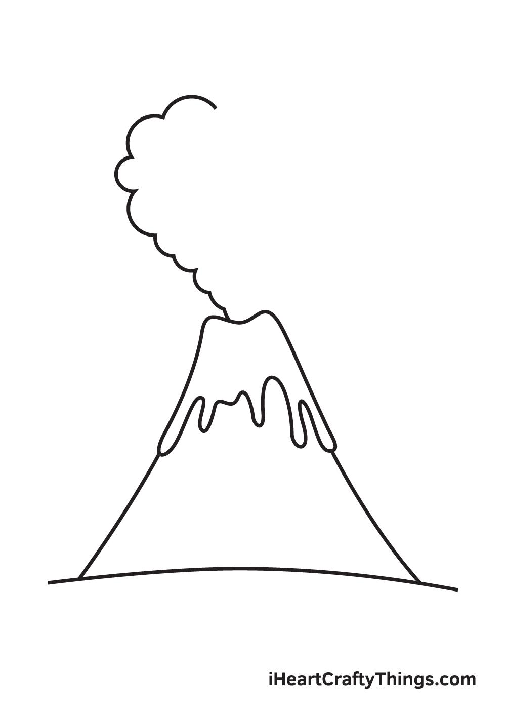 volcano drawing step 6