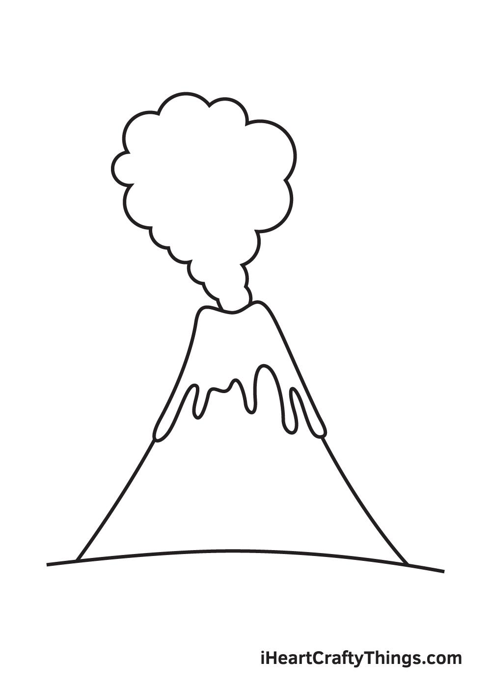 volcano drawing step 7
