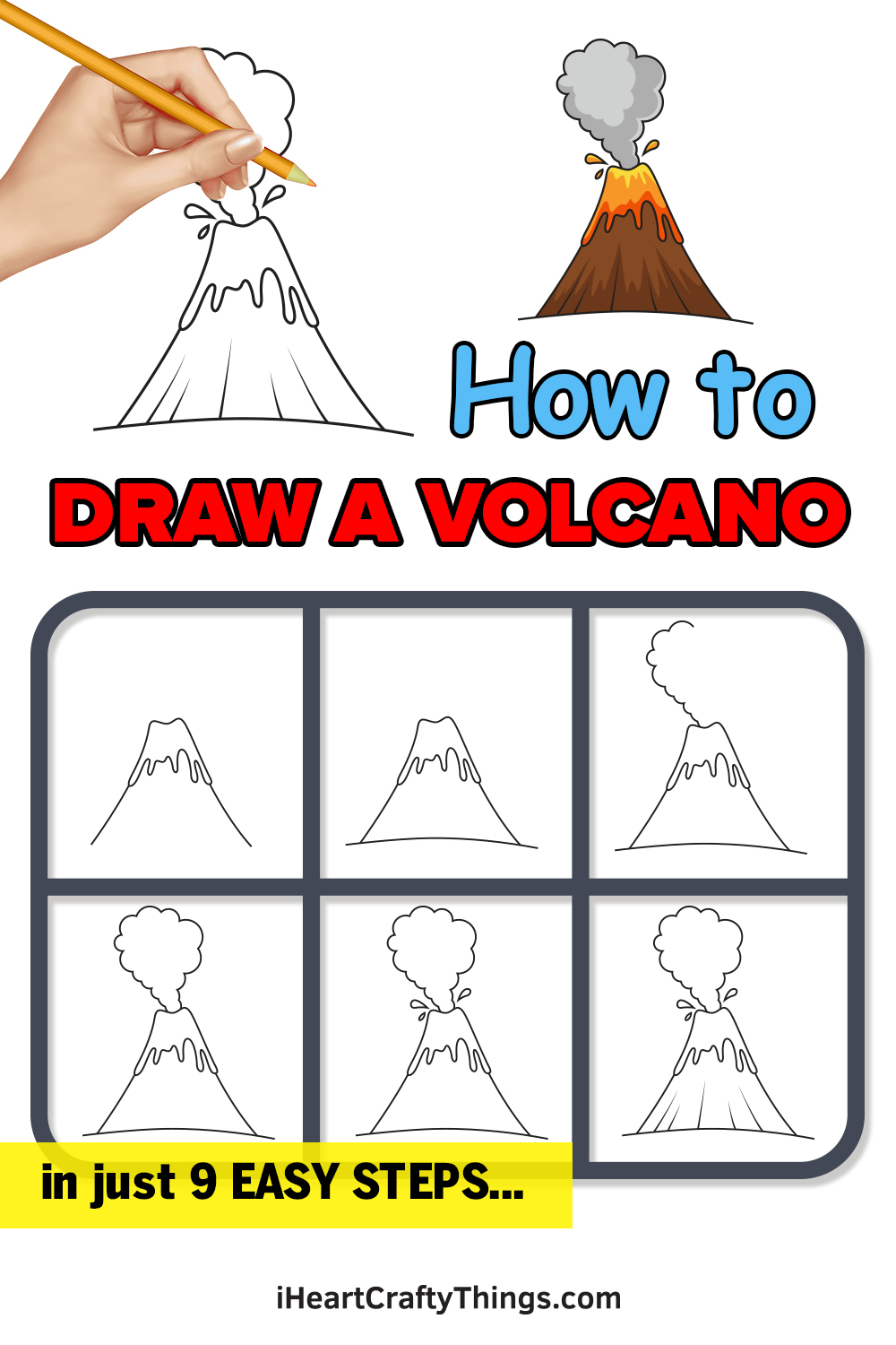 how to draw a volcano in 9 easy steps