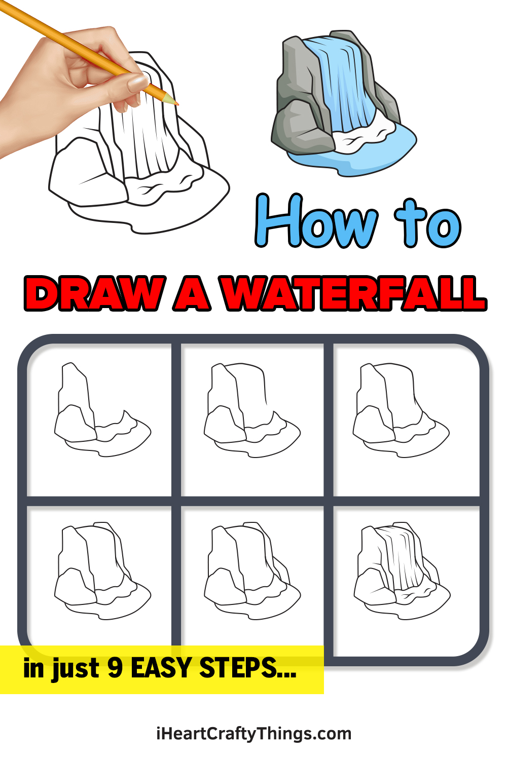 how to draw a waterfall in 9 easy steps