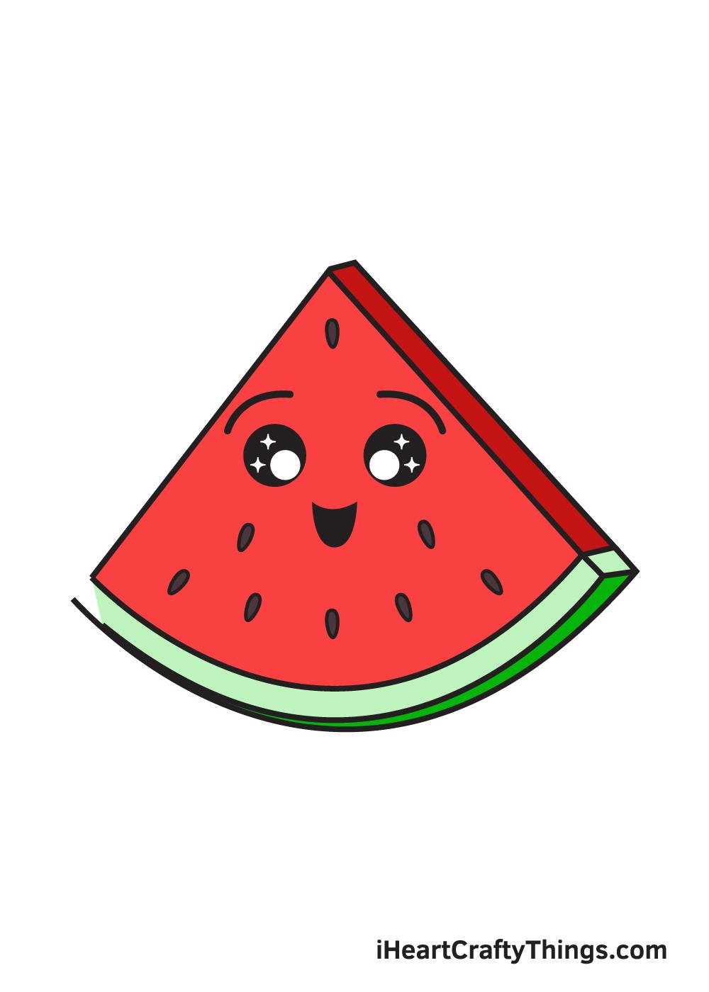 watermelon drawing 9 steps