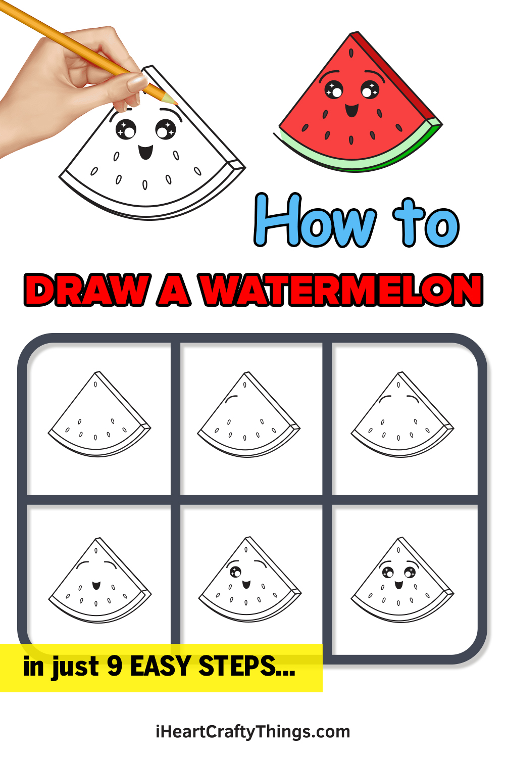 how to draw a watermelon in 9 easy steps
