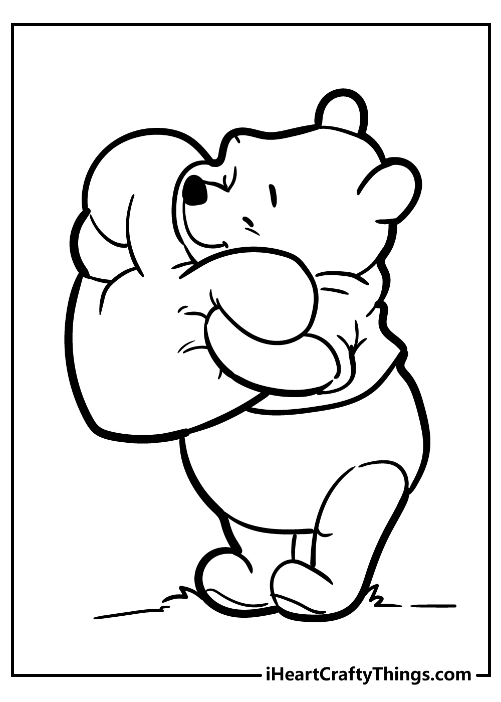 pooh bear coloring pages for kids free printable