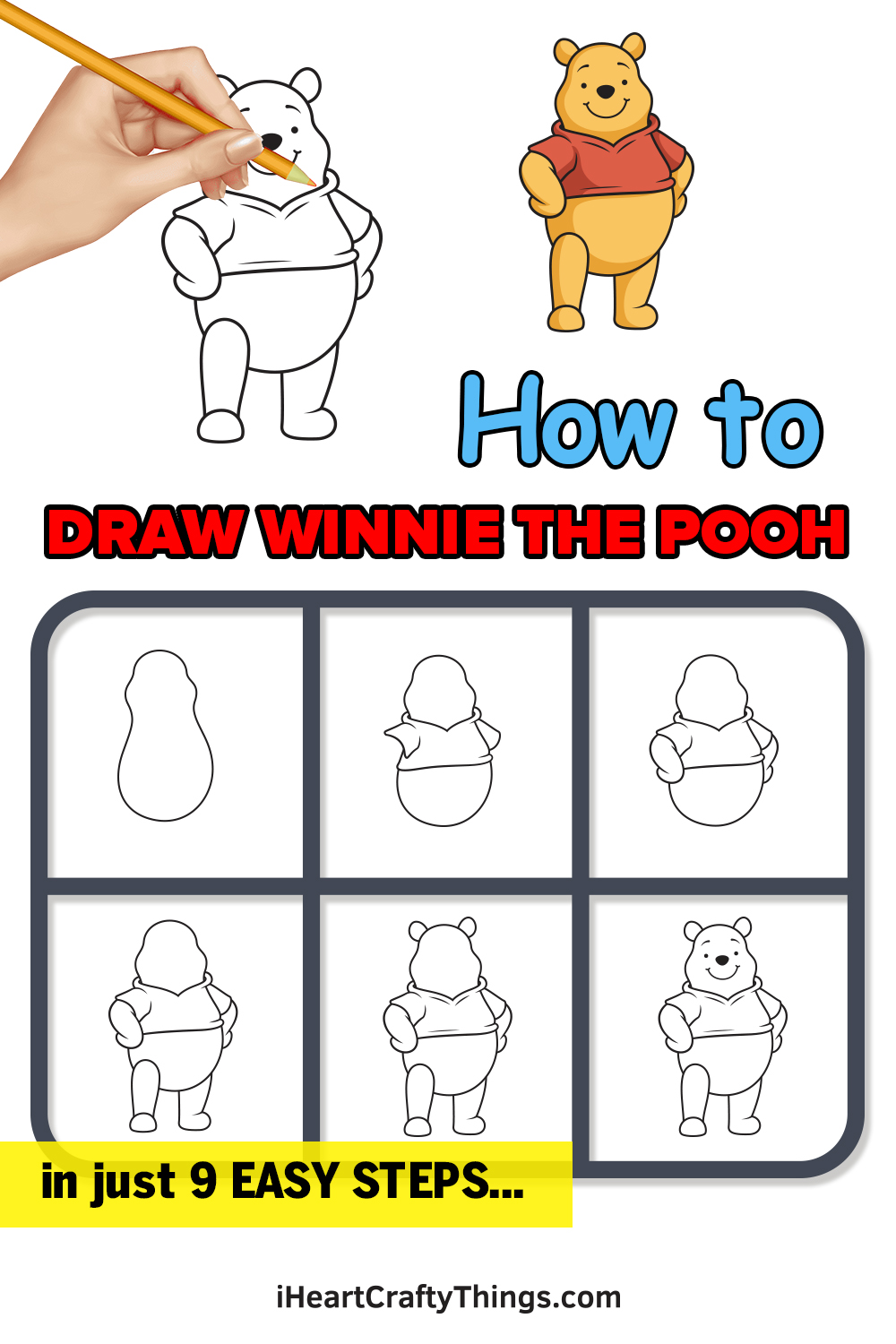 how to draw winnie the pooh in 9 easy steps