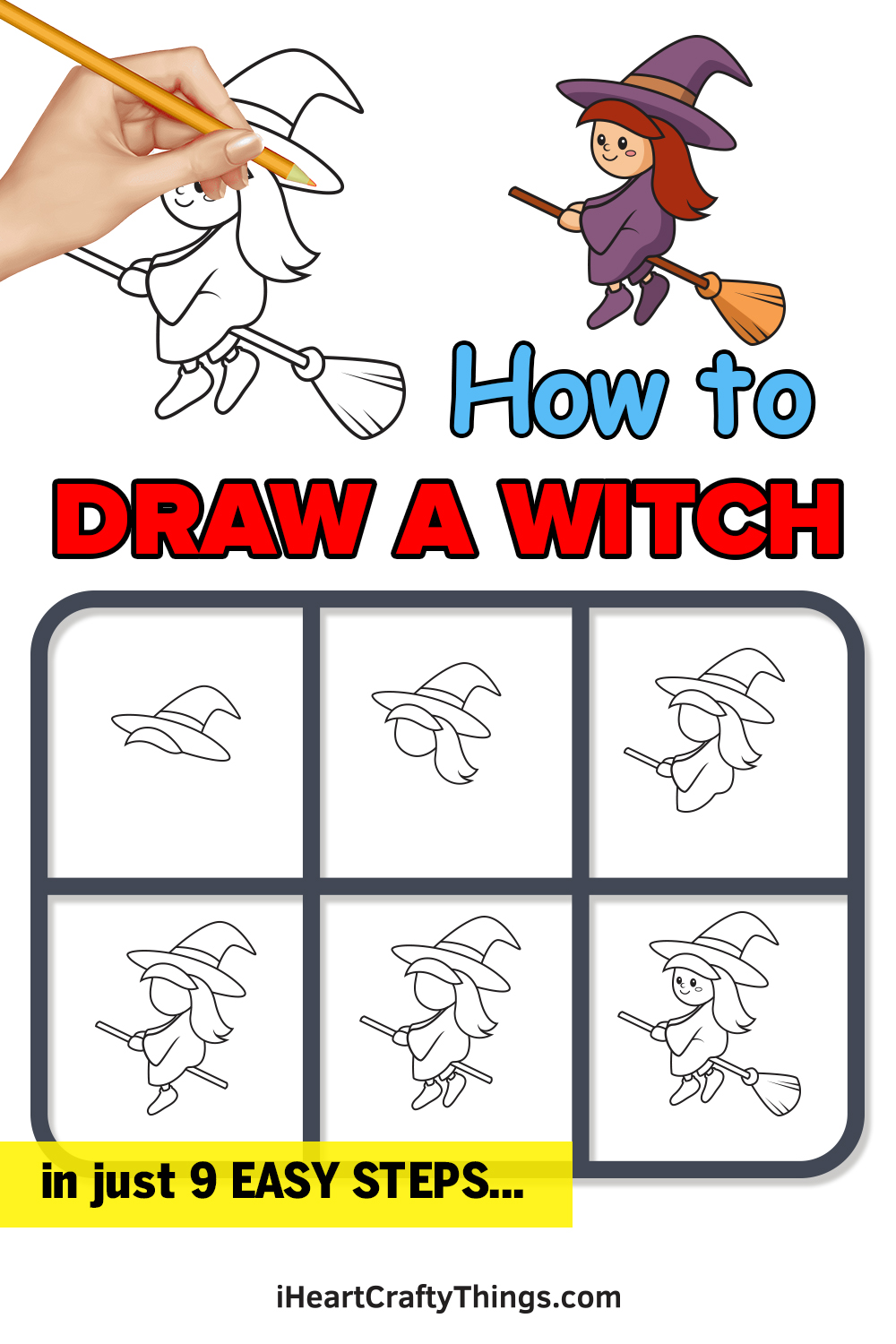 how to draw a witch in 9 easy steps
