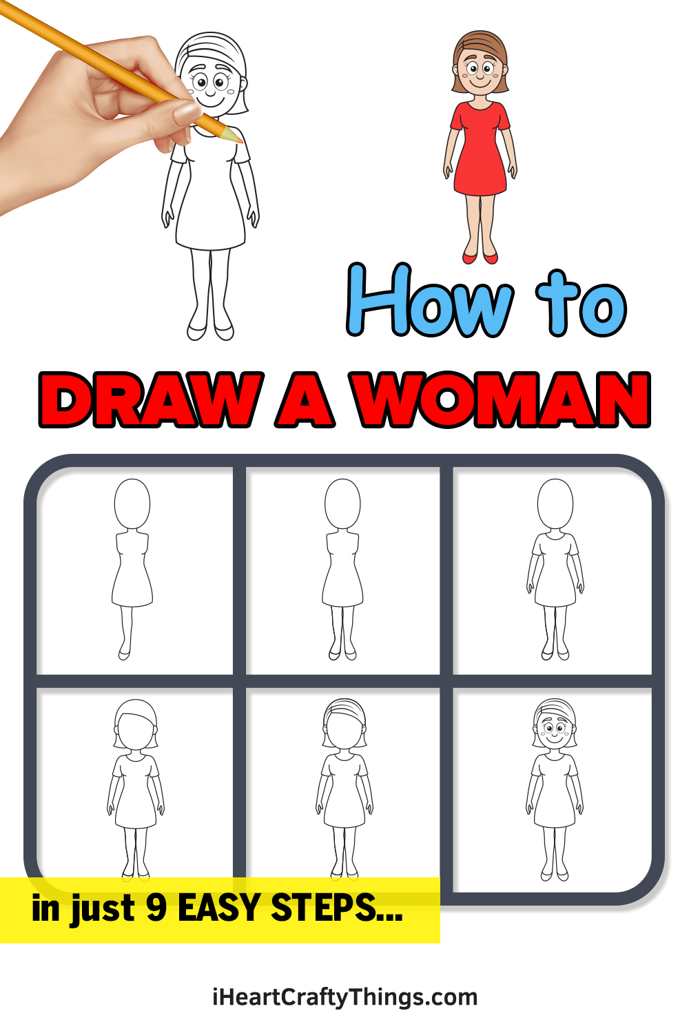 how to draw woman in 9 easy steps
