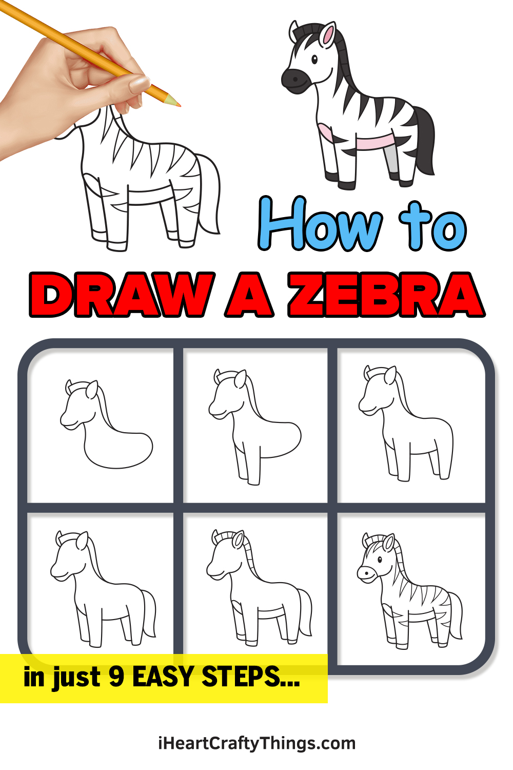 how to draw a zebra in 9 easy steps