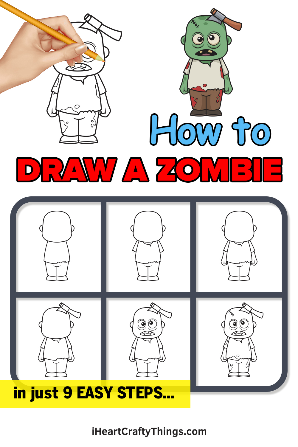 how to draw a zombie in 9 easy steps