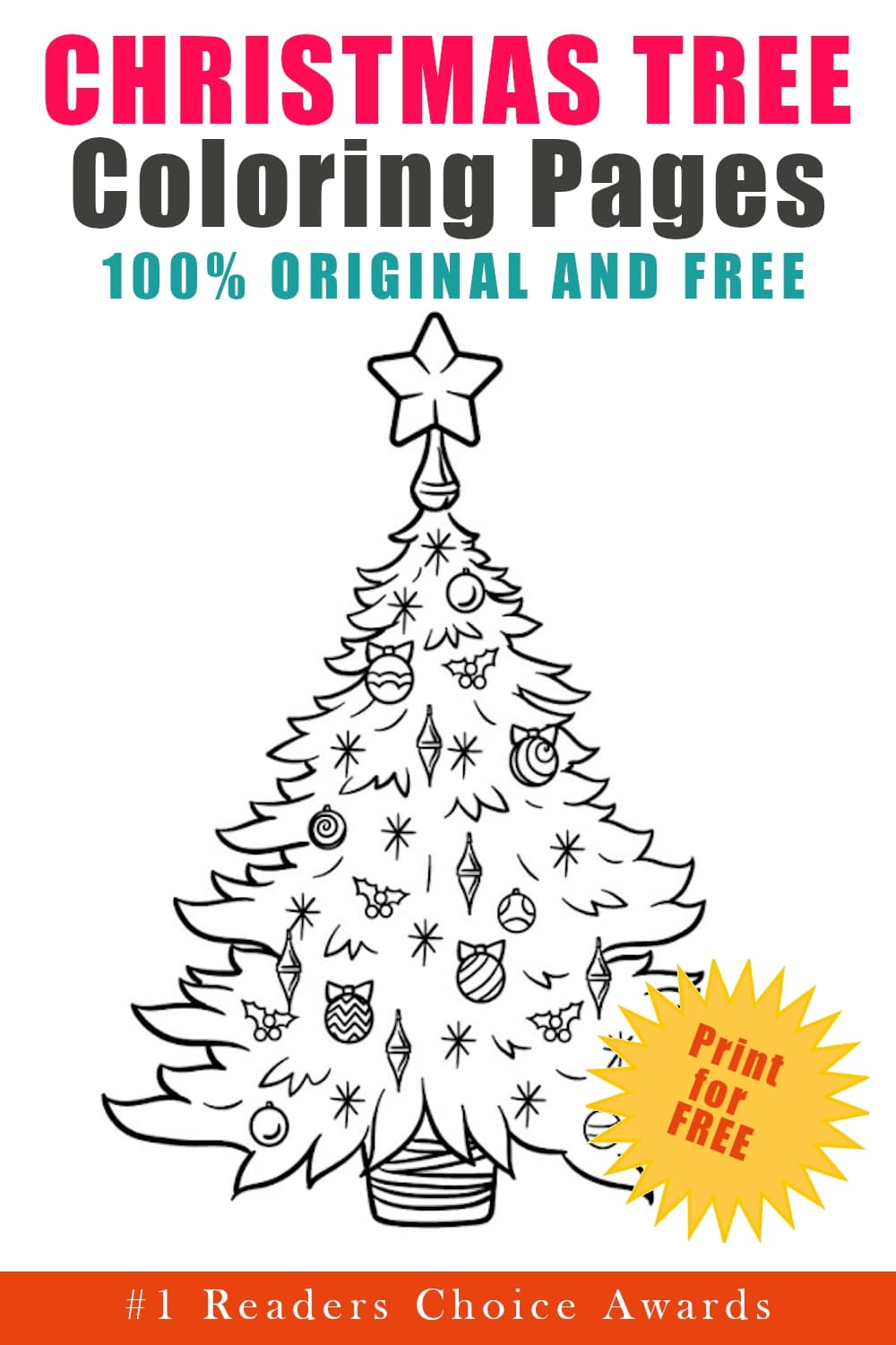 original and free christmas tree coloring pages