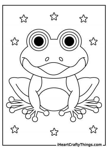 frog coloring page black and white image