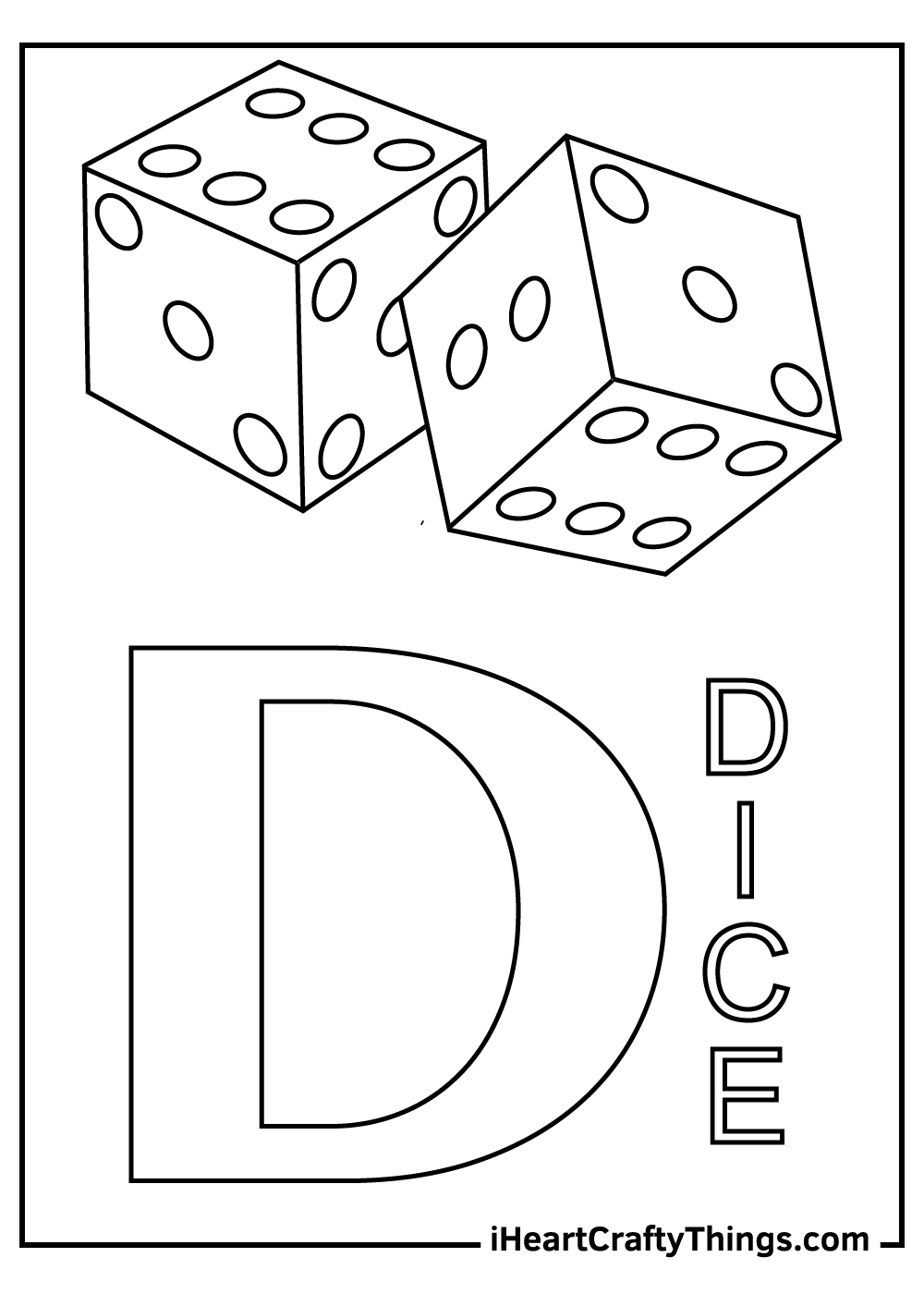 d is for dice coloring pages free printables
