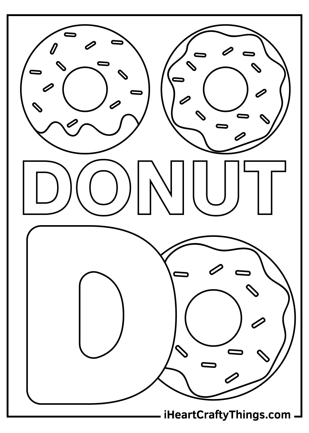 d is for donut coloring pages free download