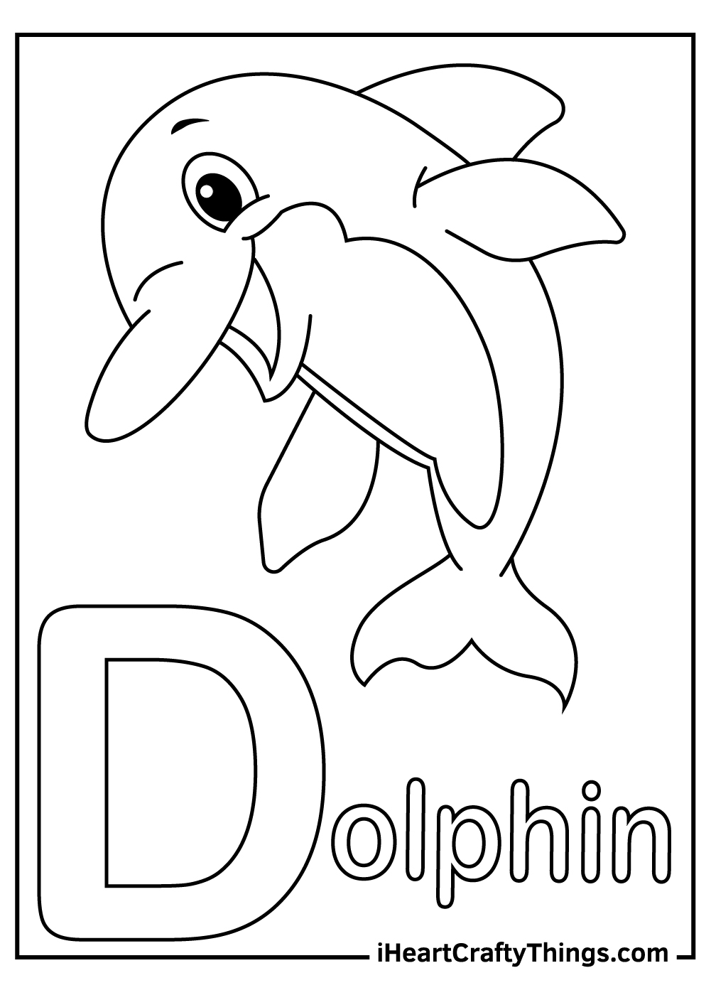 d is for dolphin coloring pages free download