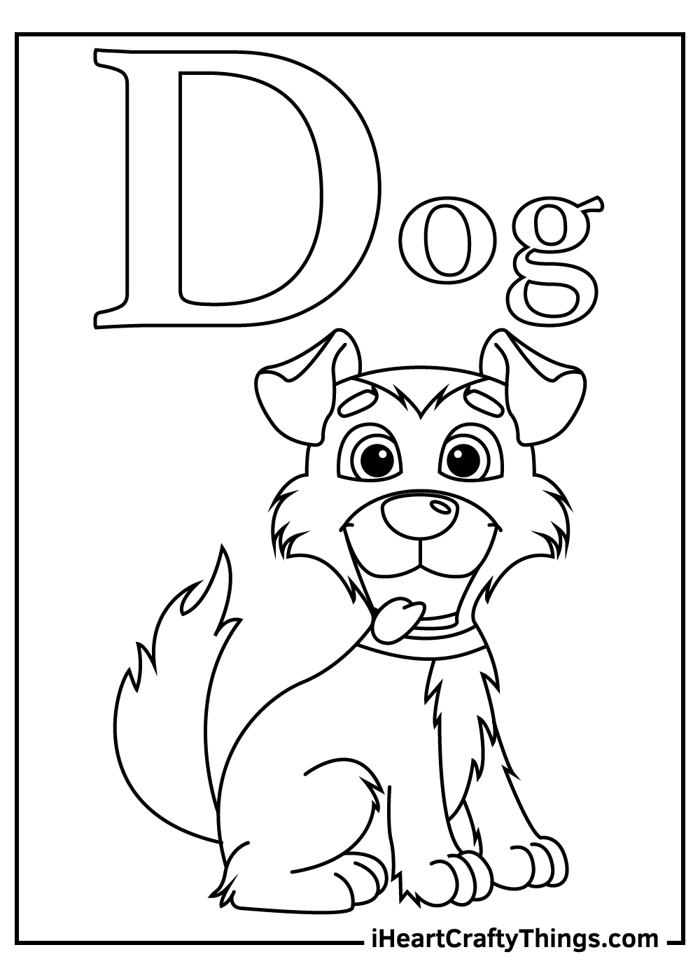 d is for dog coloring pages free printable