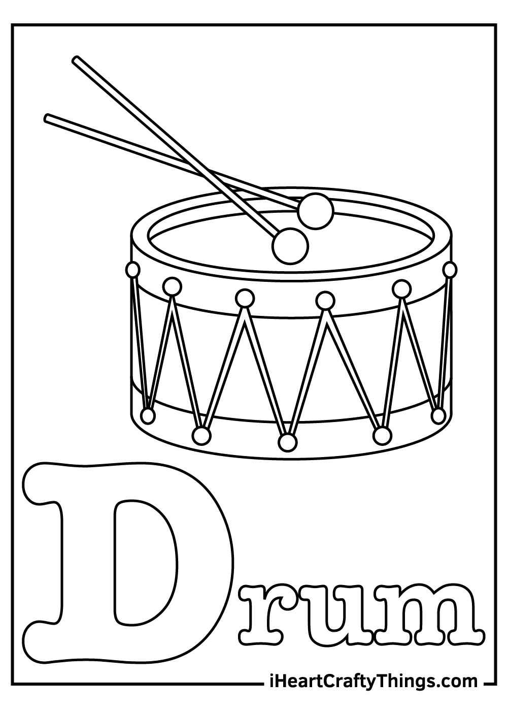 d is for drum coloring pages free download
