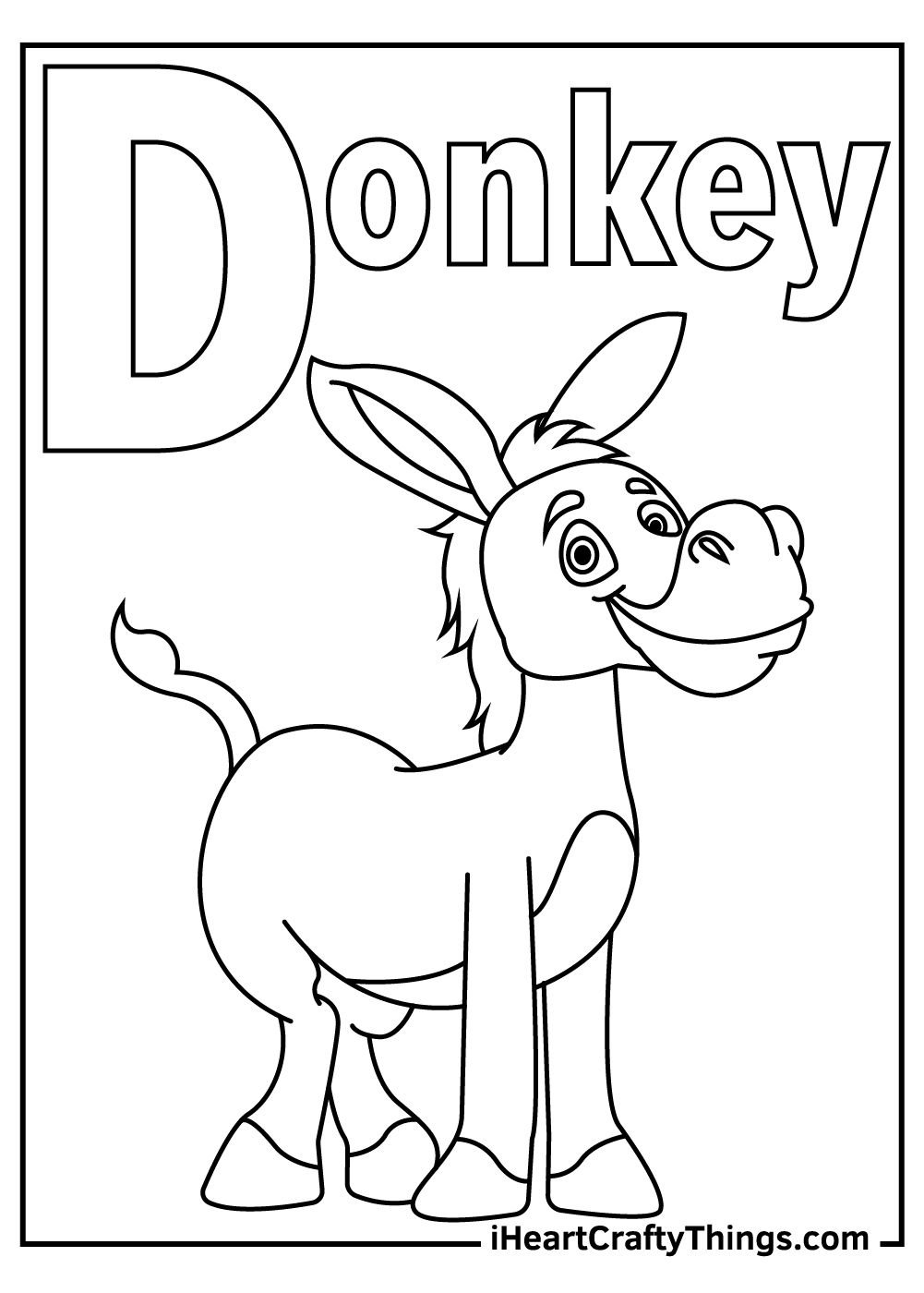 d is for donkey coloring pages free download