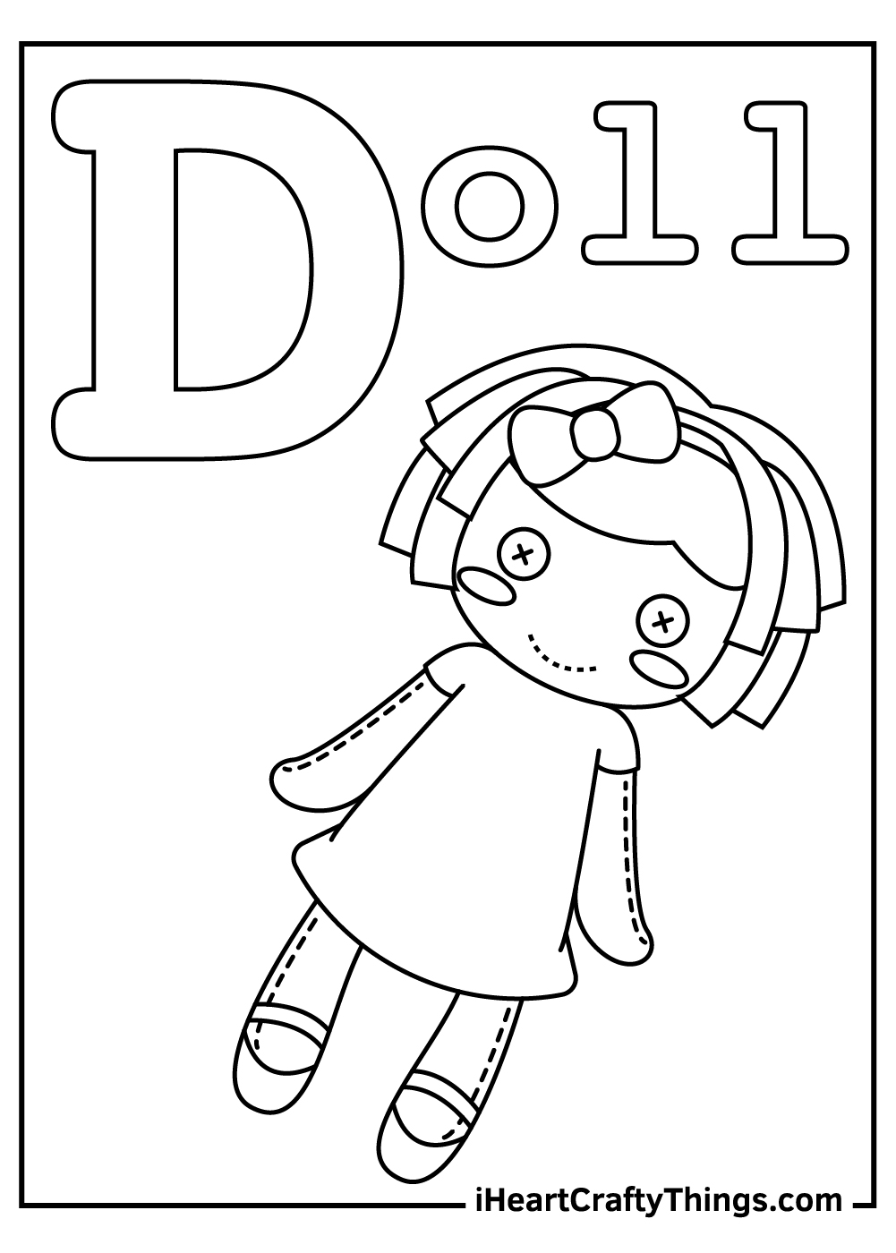 d is for doll coloring pages free printables