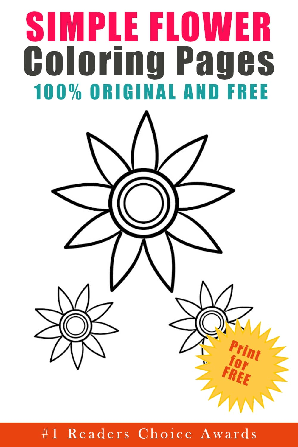 original and free simple flower coloring pages