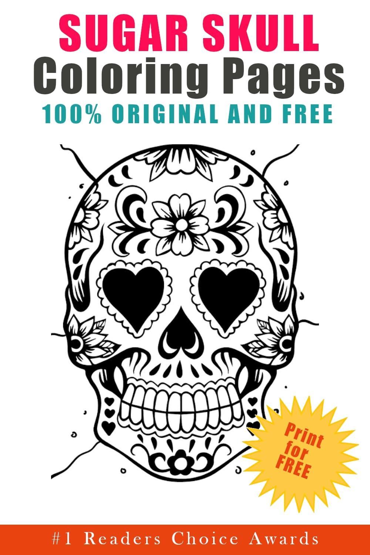 original and free sugar skull coloring pages