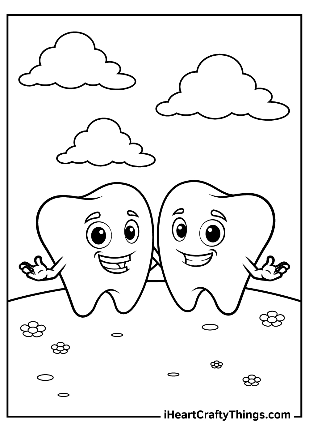 happy teeth coloring pages free printable for kids