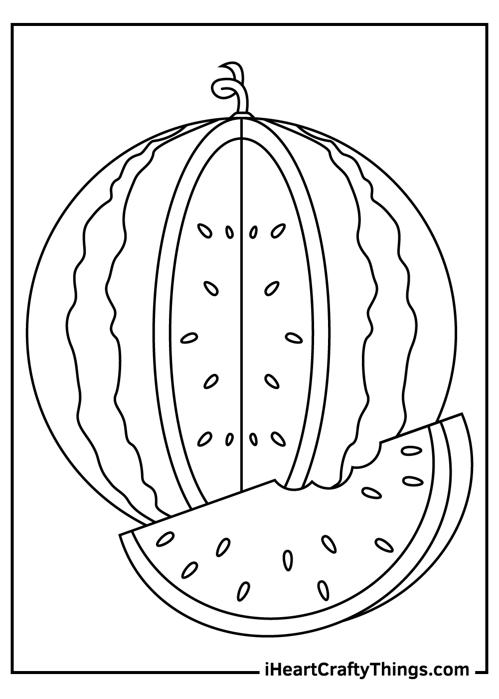 watermelon coloring pages black and white pdf