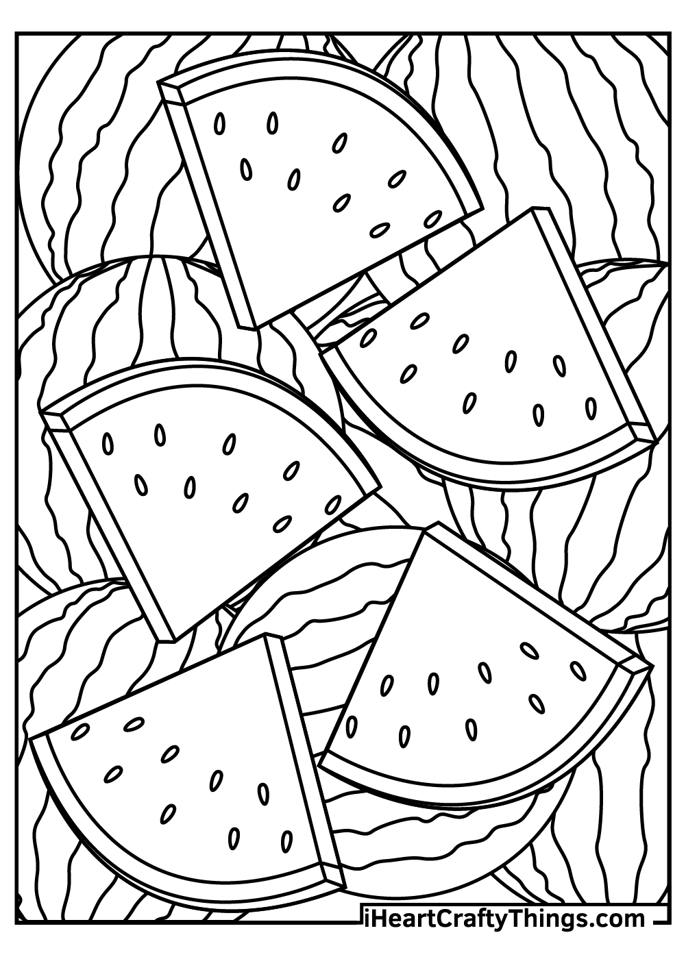 watermelon slices coloring pages free pdf