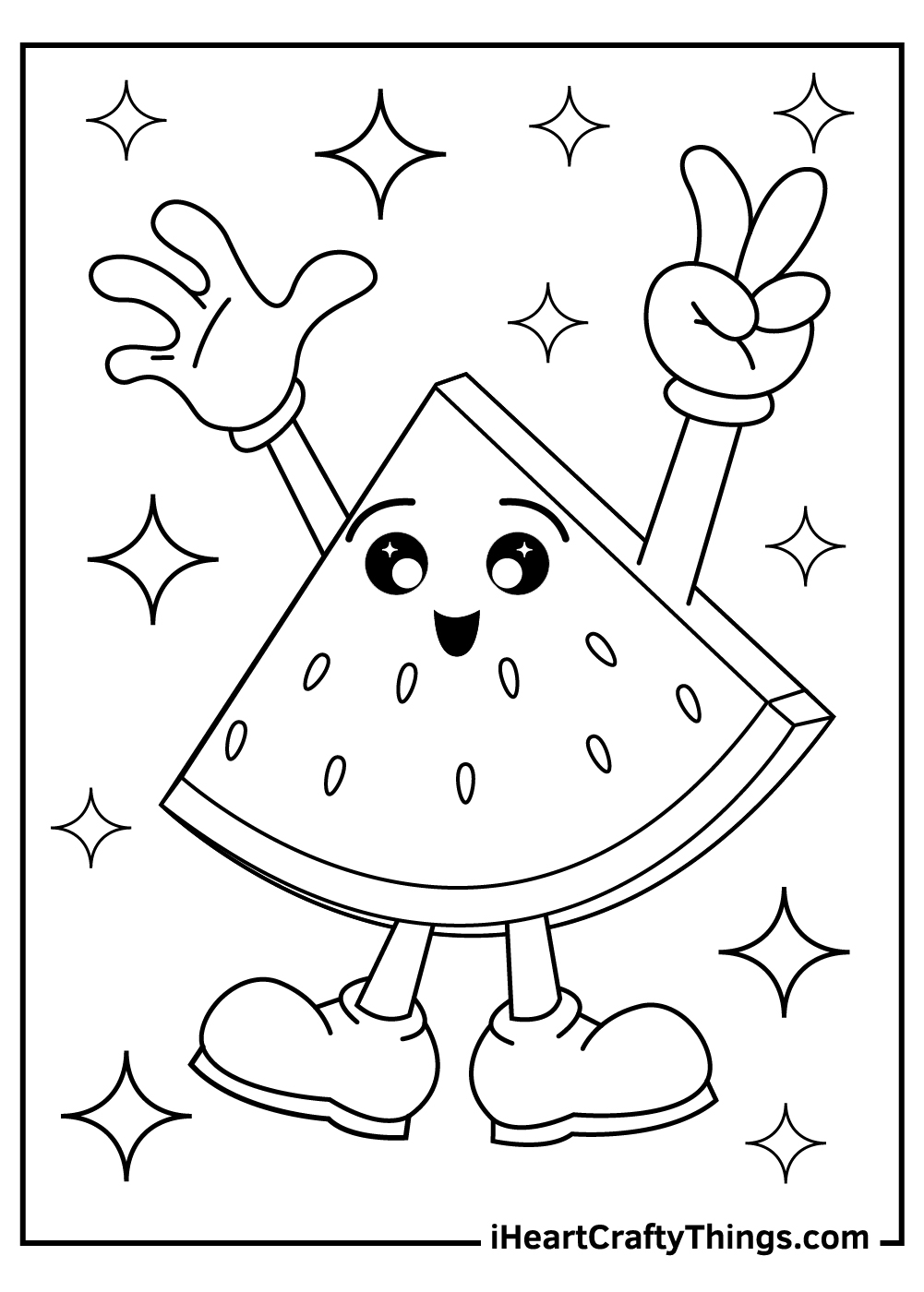 cute watermelon slices coloring pages free printable