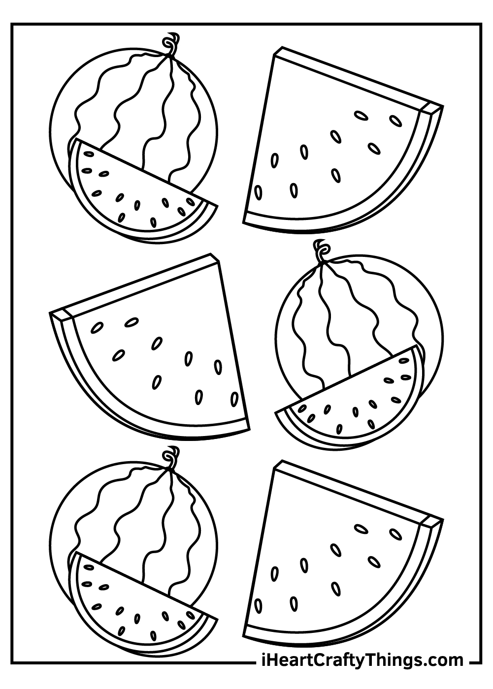 watermelon coloring pdf free printable