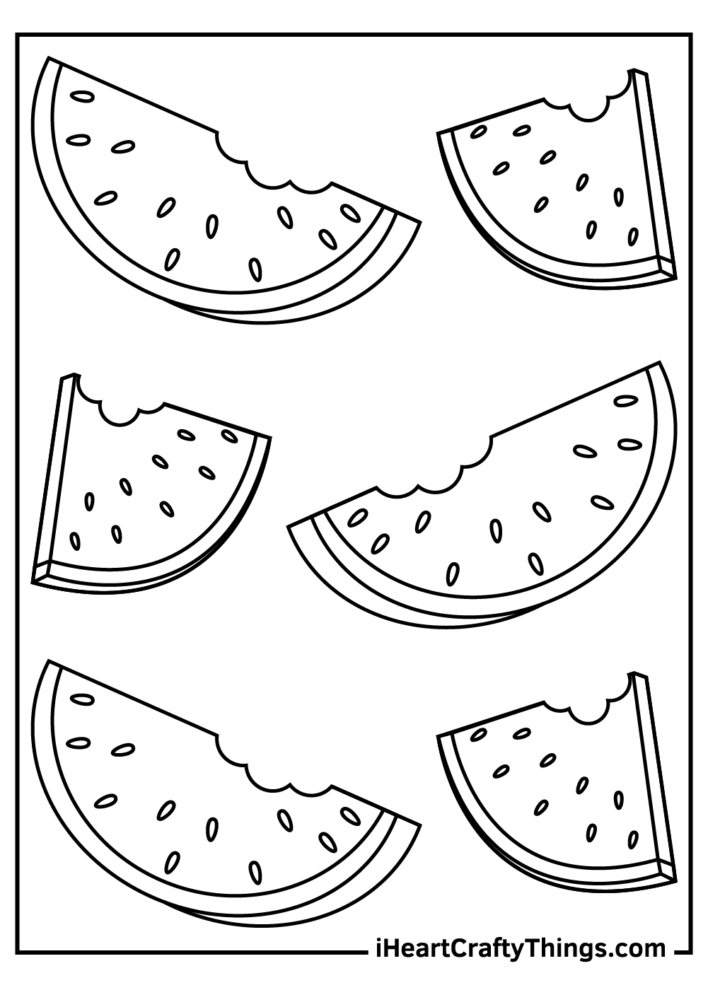 easy watermelon coloring pages for kids free print out
