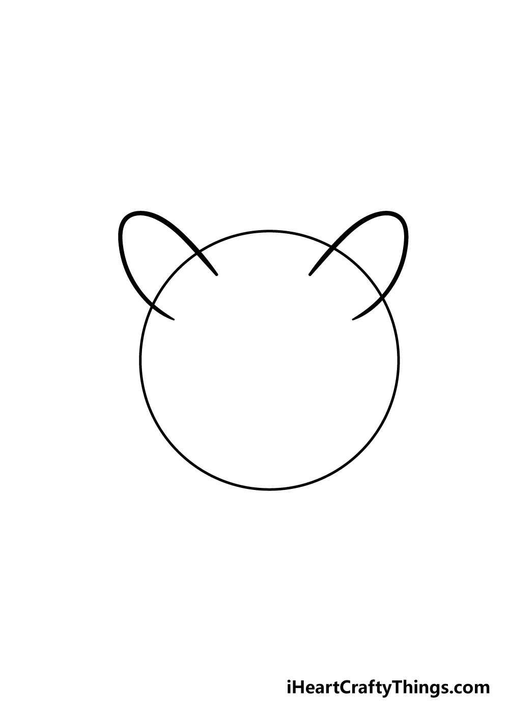 cat face drawing step 1