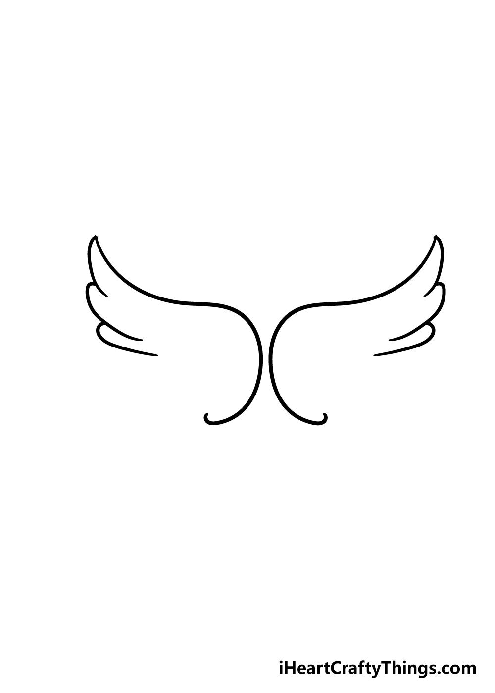 angel wings drawing step 2