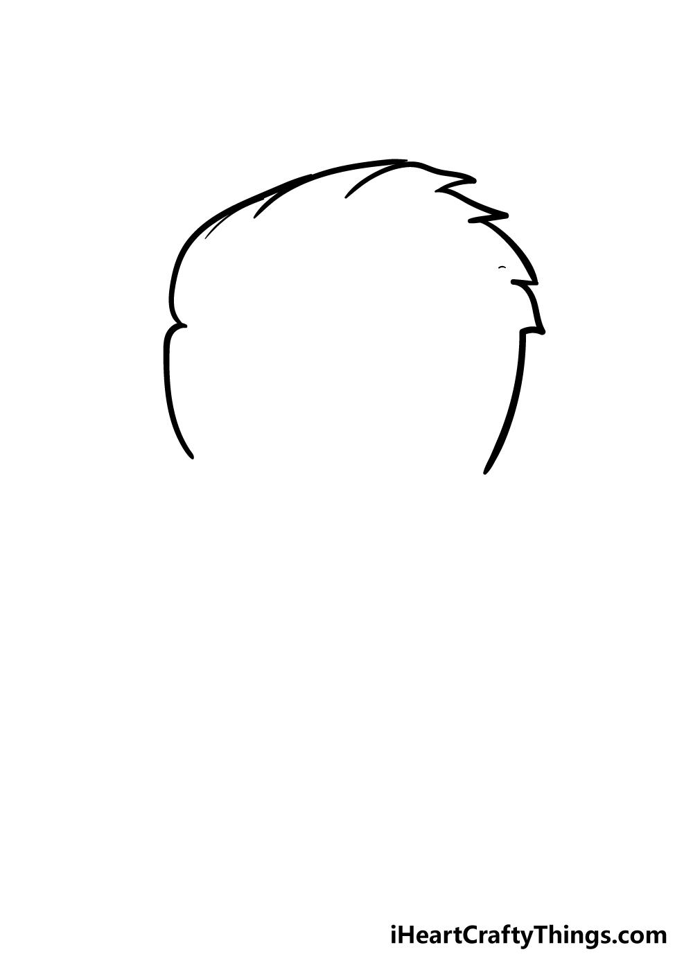 boy's hair drawing step 2
