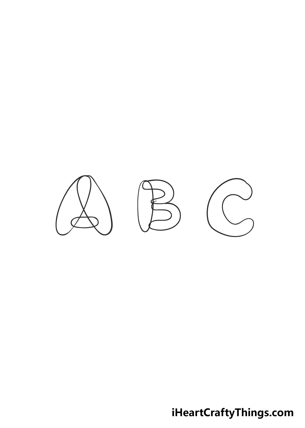 bubble letters drawing step 2