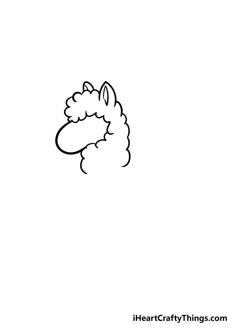 llama drawing step 2